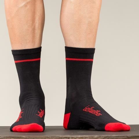 Picture of BELLWETHER OPTIME SOCK BLACK/FERRARI